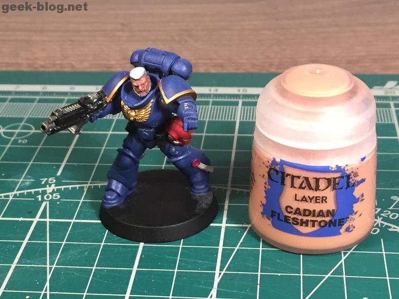 how to paint warhammer head and hair step 03 Cadian Fleshtone