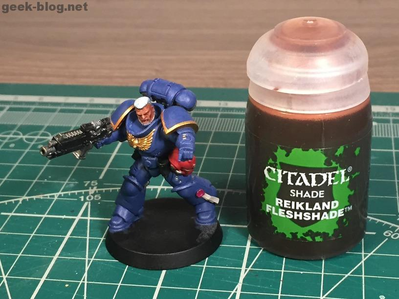 how to paint warhammer head and hair step 04 Reikland Fleshshade