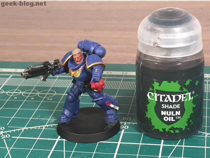 how to paint warhammer head and hair step 06 Nuln Oil