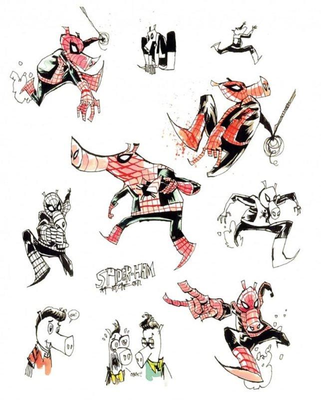 pig spider man verse art