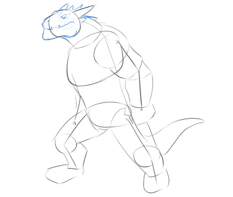 how to draw a dragonborn head