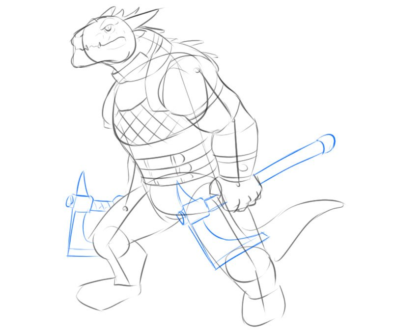how to draw a dragonborn d&d step by step