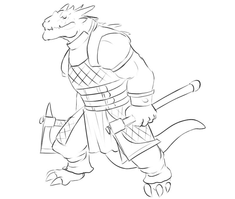 how to draw a dragonborn easy