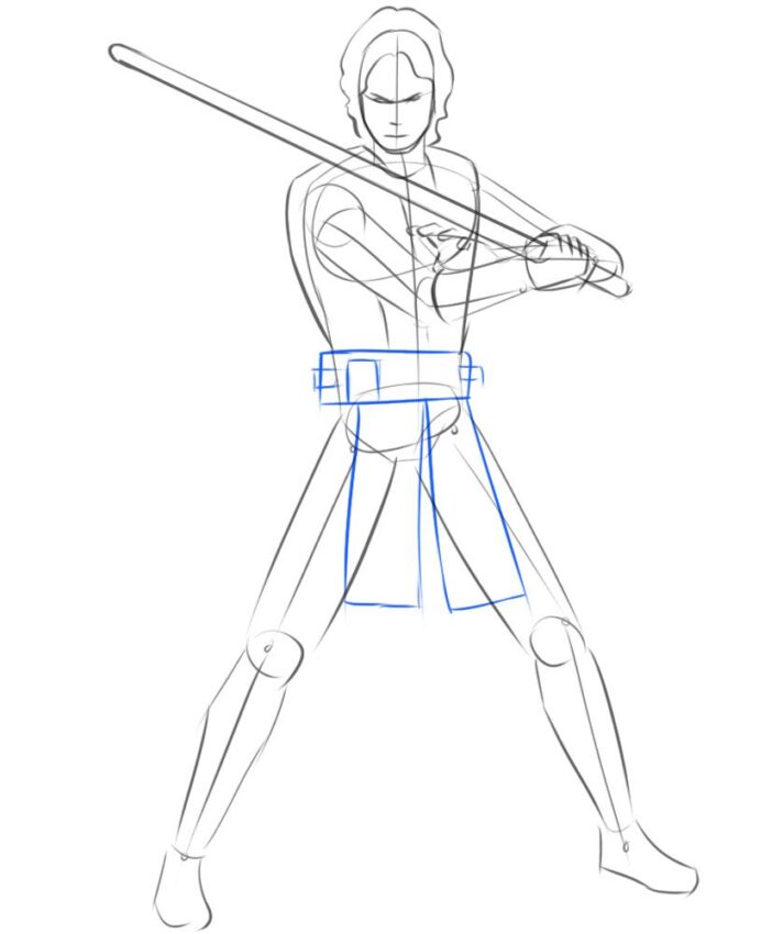 how to draw anakin with lightsaber