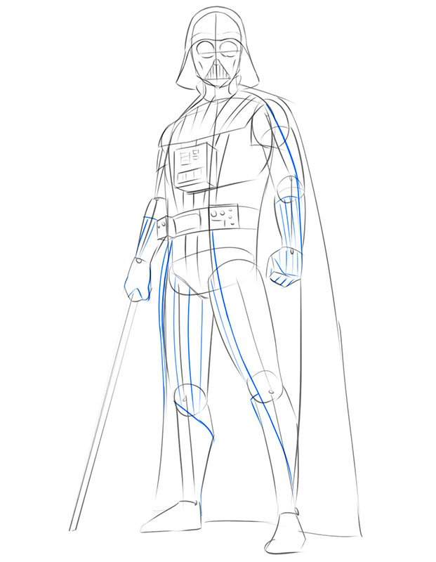 how to draw darth vader by pencil