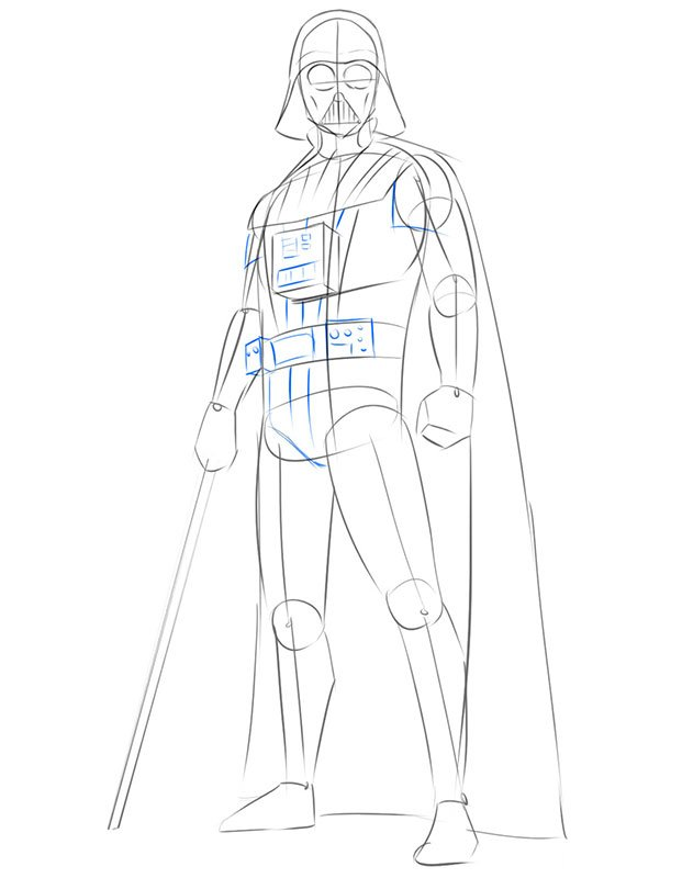 how to draw darth vader step by step easy
