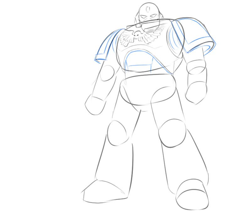 how to draw space marine easy step by step