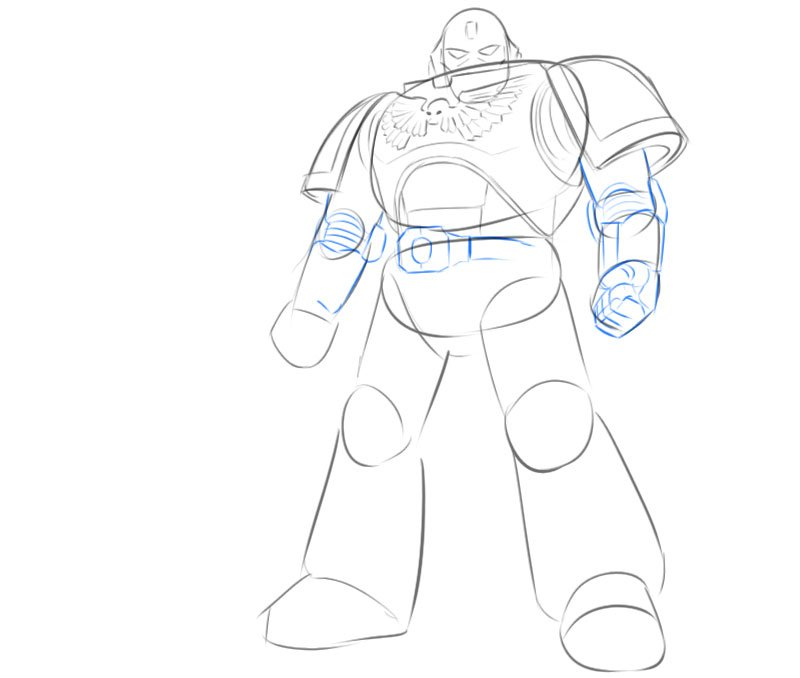 how to draw warhammer space marine easy
