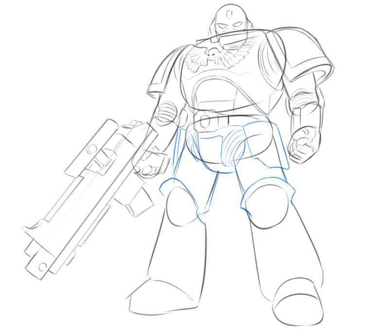 space marine drawing easy step by step