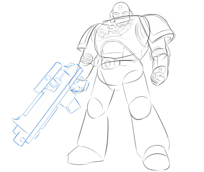 space marine drawing easy