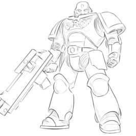 How to draw a spacemarine