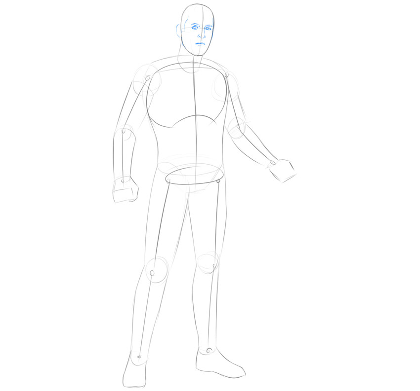 how to draw thor full body step by step