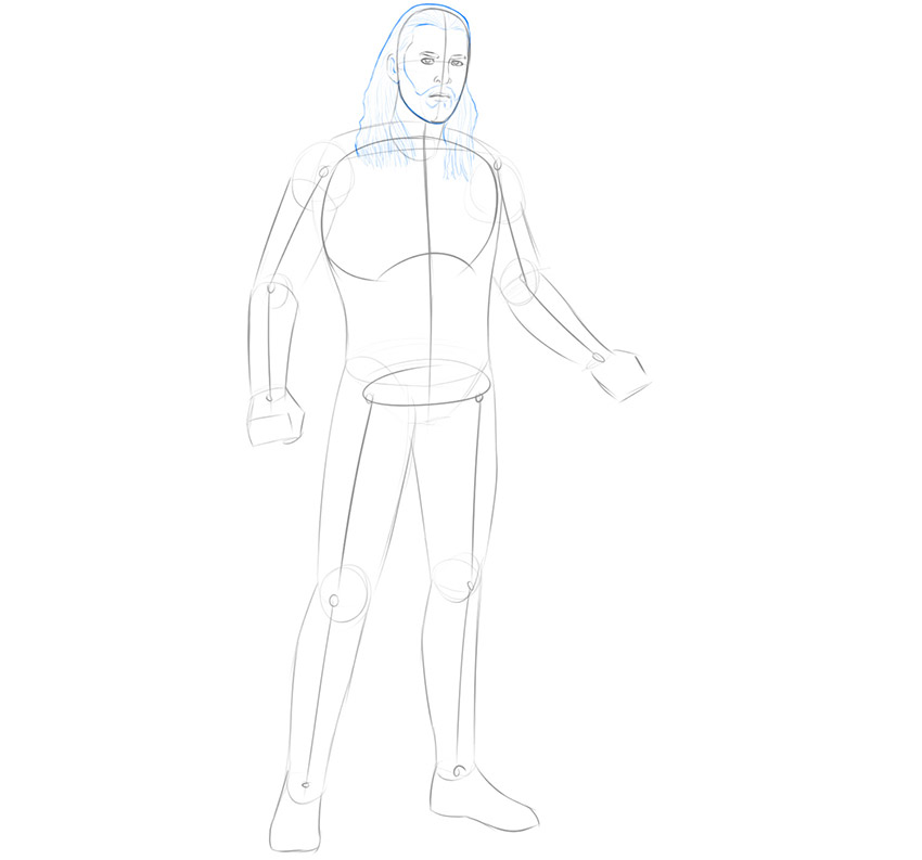 how to draw thor full body