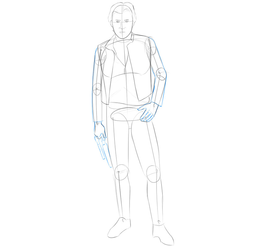 how to draw han solo realistic