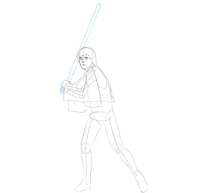 how to draw luke skywalker's lightsaber
