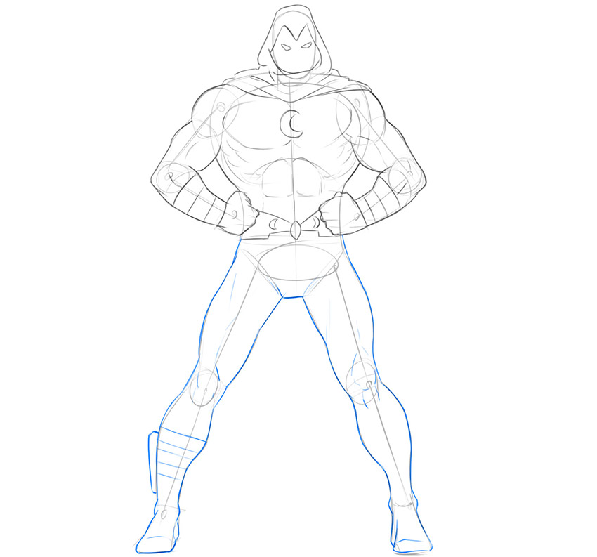 how to draw moon knight step by step