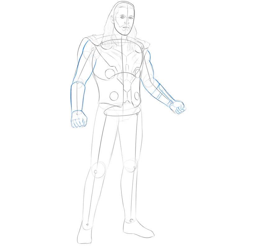 how to draw thor from avengers