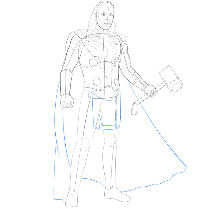 how to draw thor avengers