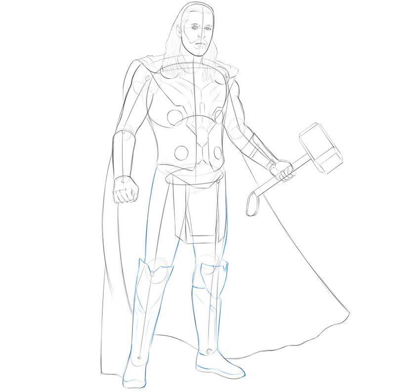 how to draw thor endgame